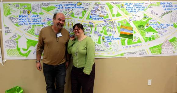 With Liz Etmanski - one of the few people I can draw with :) - making a map of community.  I love the ideas she comes up with to fill these charts.