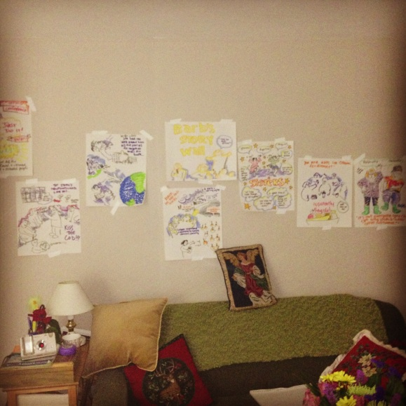 Barb's story wall - for her birthday she wanted people to share stories of her with me and I would draw them