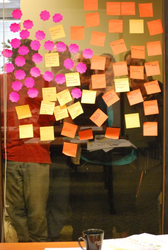 Post its are handy!  here the group is looking through them....