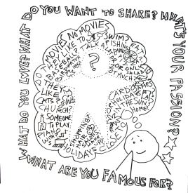 an illustration from our book, 101 Ways to Make Friends: ideas and conversation starters for people with disabilities and those who care about them from www.spectrumpress.ca