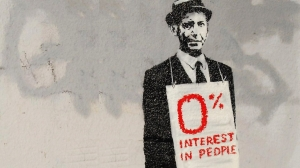 "Banksy, street art, ""0% Interest in People."""