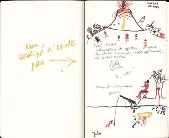 """Foucault's copy of Anti-Oedipus offered by Deleuze with drawings by his two children. Deleuze points to the drawings and notes in yellow, """"Oedipus does not exist."""