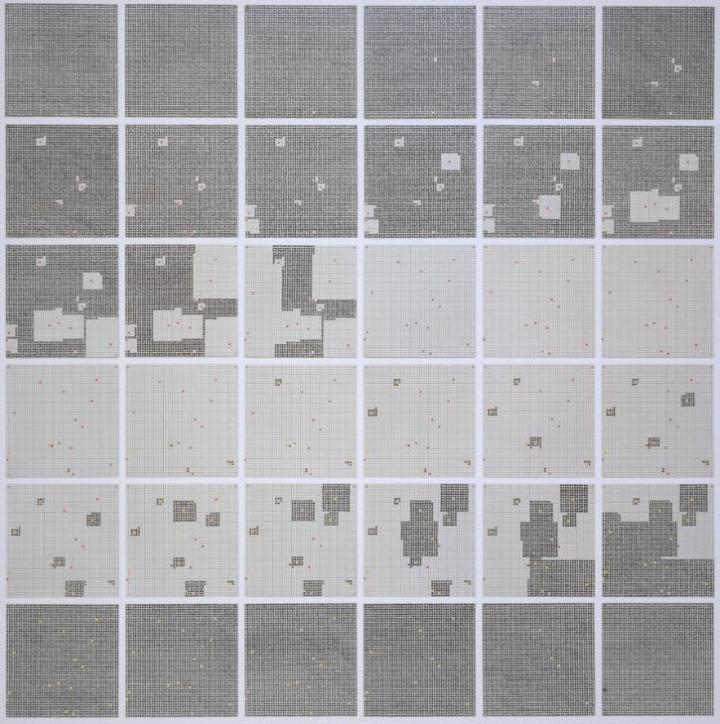 Surface Substitution on 36 Plates 1972 Jennifer Bartlett born 1941 Offered to HM Government in lieu of Inheritance Tax by David, Maggi, Joshua and Daniel Gordon in memory of Max Gordon. Accepted and allocated to the Tate Gallery 1992 http://www.tate.org.uk/art/work/T06637