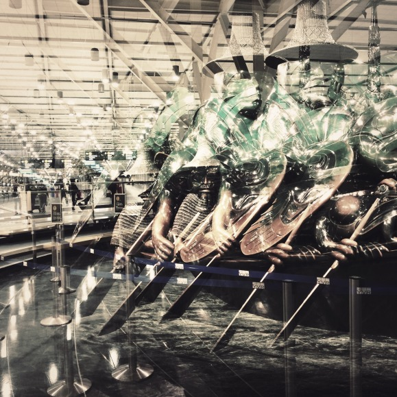 Bill Reid's Spirit Canoe at Vancouver International Airport, multiple exposure with Hipstamic app