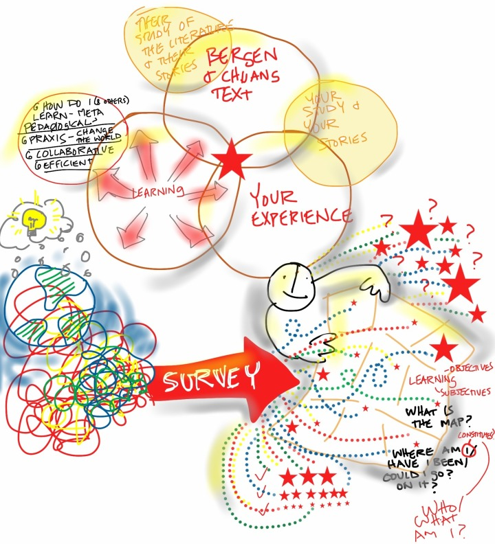 How a survey course takes a HUGE amount of tangled information and supports the student through a combination of readings, reflections on their own experience, interactions with others, and projects, to create a kind of sense-making map about what happened when, some of which can be organized into things I now know, but also leaving one with a list of many questions to be followed up later.